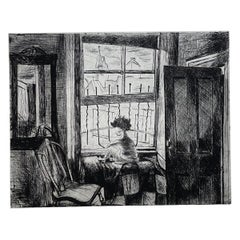 """Images of Children Etching Entitled """"City Child"""" by Will Barnet"""