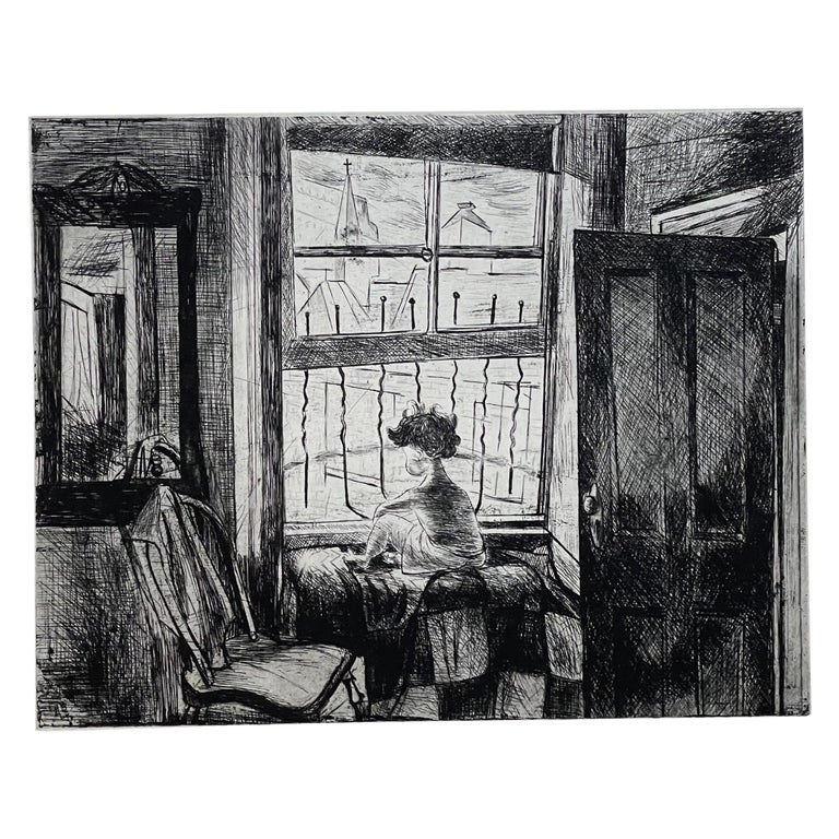 """Images of Children Etching Entitled """"City Child"""" by Will Barnet For Sale"""