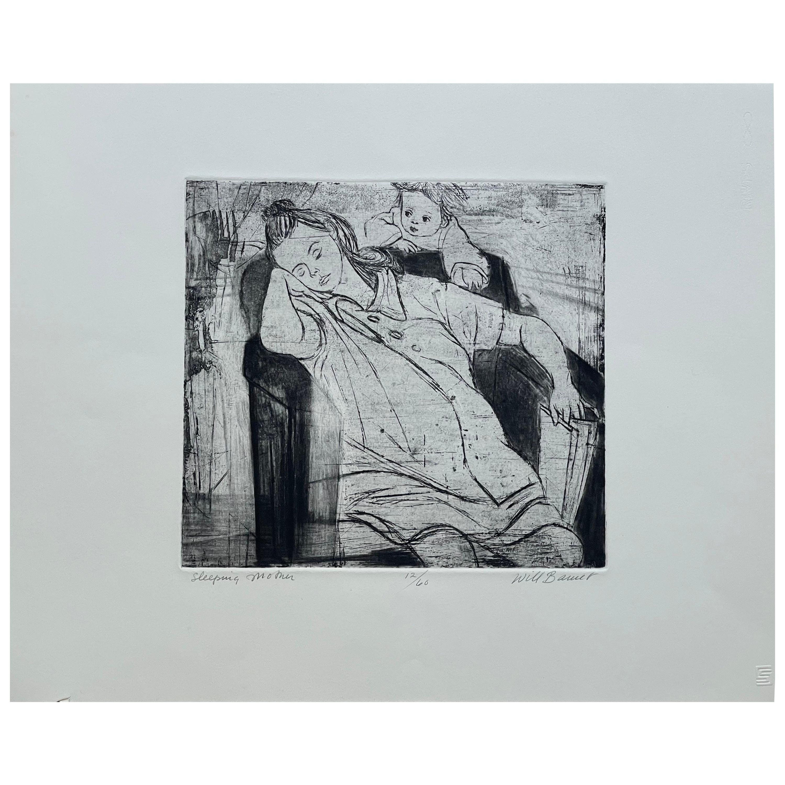 """Images of Children Etching Entitled """"Sleeping Mother"""" by Will Barnet"""