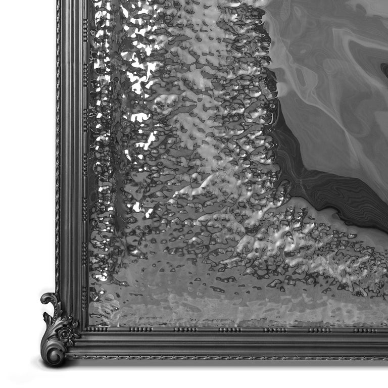 Portuguese Imaginarium Floor Mirror Black, Classic Carved Wood and Polished Stainless Steel For Sale