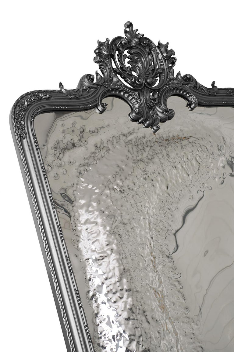 Hand-Carved Imaginarium Floor Mirror Black, Classic Carved Wood and Polished Stainless Steel For Sale