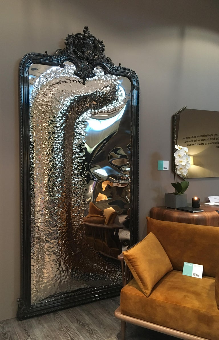 Imaginarium Floor Mirror Black, Classic Carved Wood and Polished Stainless Steel In New Condition For Sale In Oporto, PT