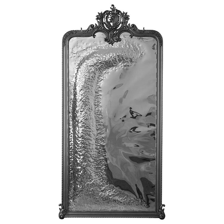 Imaginarium Floor Mirror Black, Classic Carved Wood and Polished Stainless Steel For Sale