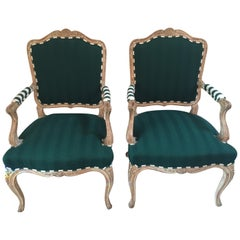 Imaginatively Upholstered Pair of French Style Bergère Club Chairs