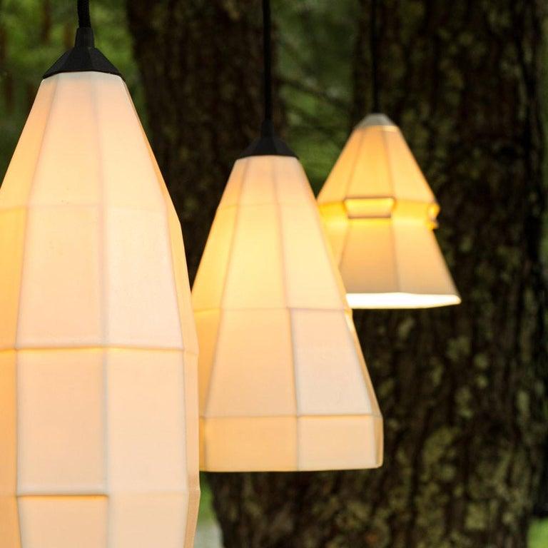 American Expansion 3 Contemporary Hanging Pendant Light White Translucent Porcelain For Sale