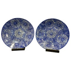 Imari Blue 2 Large Chargers in His Original Box, Japon, Porcelaine, 1897