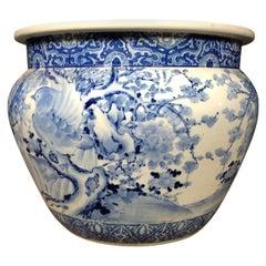 Imari Blue and White Fish Bowl Planter