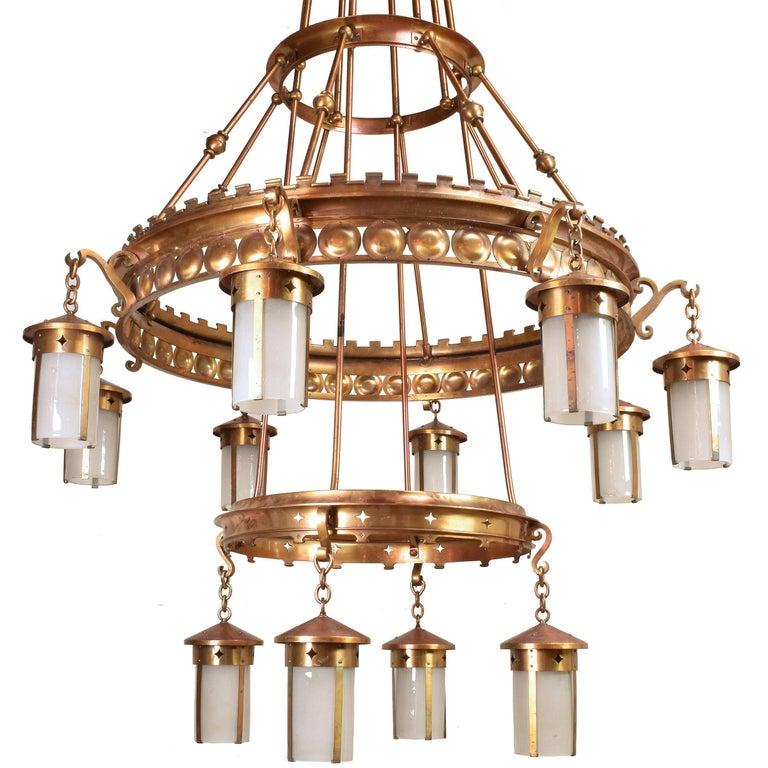 Light Fixtures Duluth Mn: Immense Arts And Crafts Twelve Lantern Chandelier For Sale