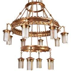 Immense Arts & Crafts Twelve-Lantern Chandeliers