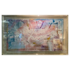 Immense Original Signed Douglas Eisman Signed Painting in Lucite and Brass Frame