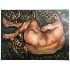 'Immersion' Original Fine Art Figural Nude Male Painting by Helen Bayley