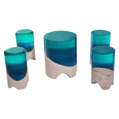 Immerso Side Table & Stool, Eduard Locota Sculptural Design with Resin & Marble