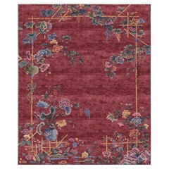 Immortality Grove Emperors Red - Floral Contemporary Hand Knotted Wool Silk Rug