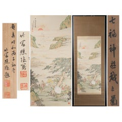 Immortals Nihonga Scene Meiji/Taisho Period Scroll Japan Artist Meiji Period