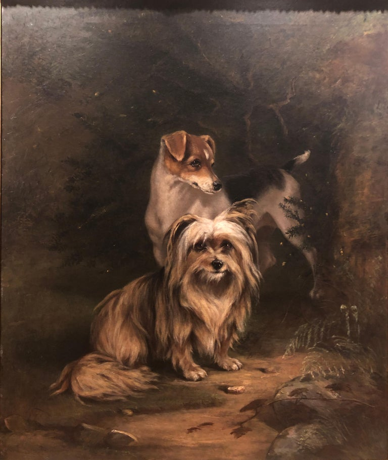 Imogen Mary Collier Animal Painting - 19th Century Portrait of Jerry and Dot a Pair Two Naughty Friends