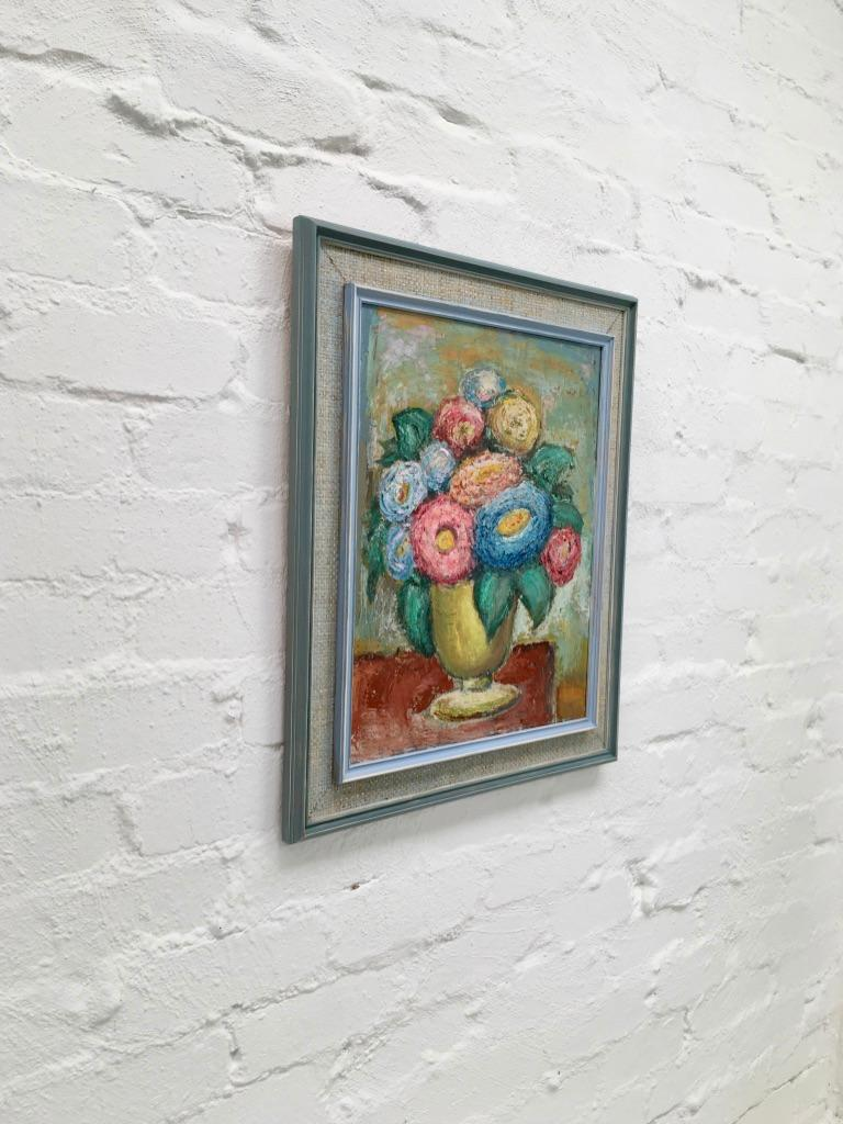 Mid-Century Modern Impasto Oil Painting Floral Still Life 1960s style of William Dobell For Sale