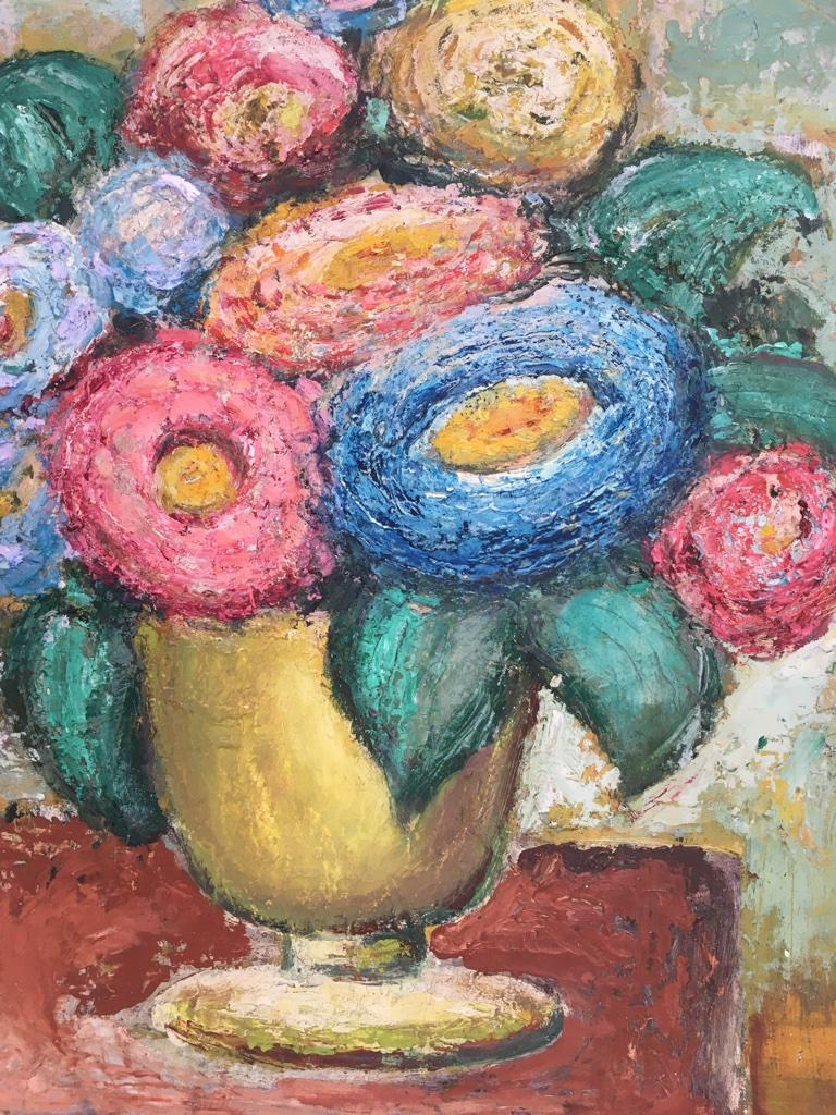 Molded Impasto Oil Painting Floral Still Life 1960s style of William Dobell For Sale
