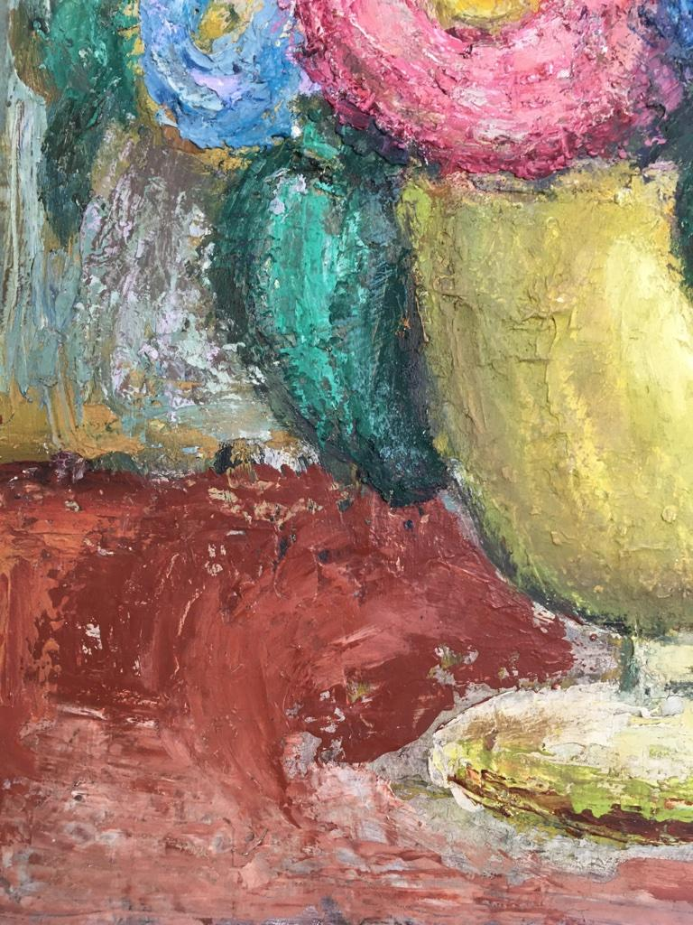 Softwood Impasto Oil Painting Floral Still Life 1960s style of William Dobell For Sale