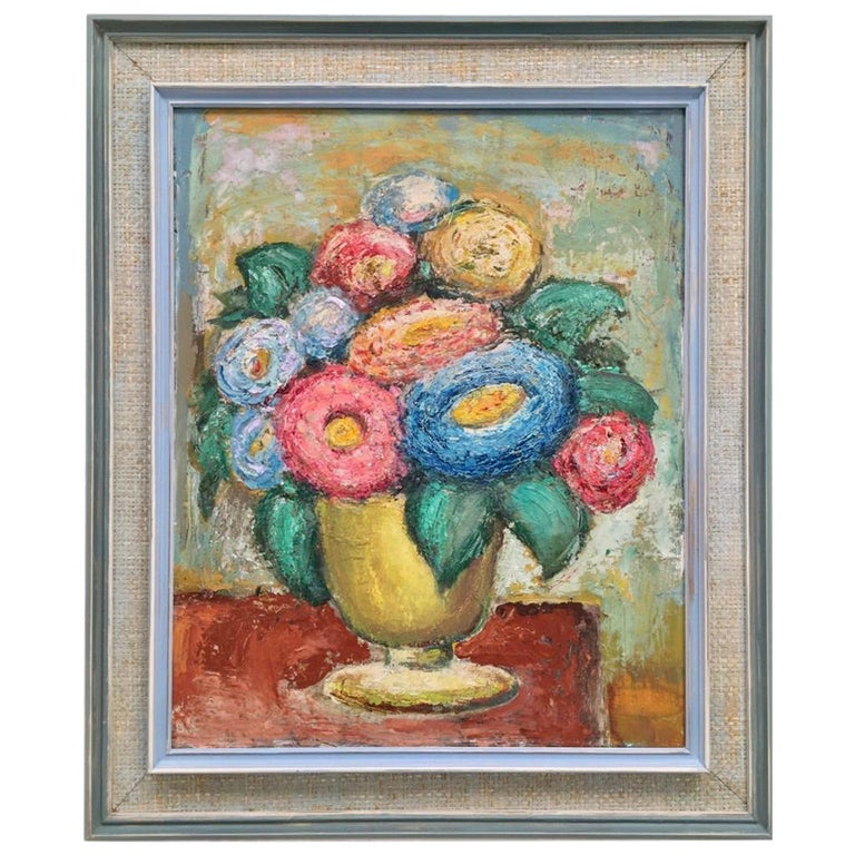 Impasto Oil Painting Floral Still Life 1960s style of William Dobell For Sale