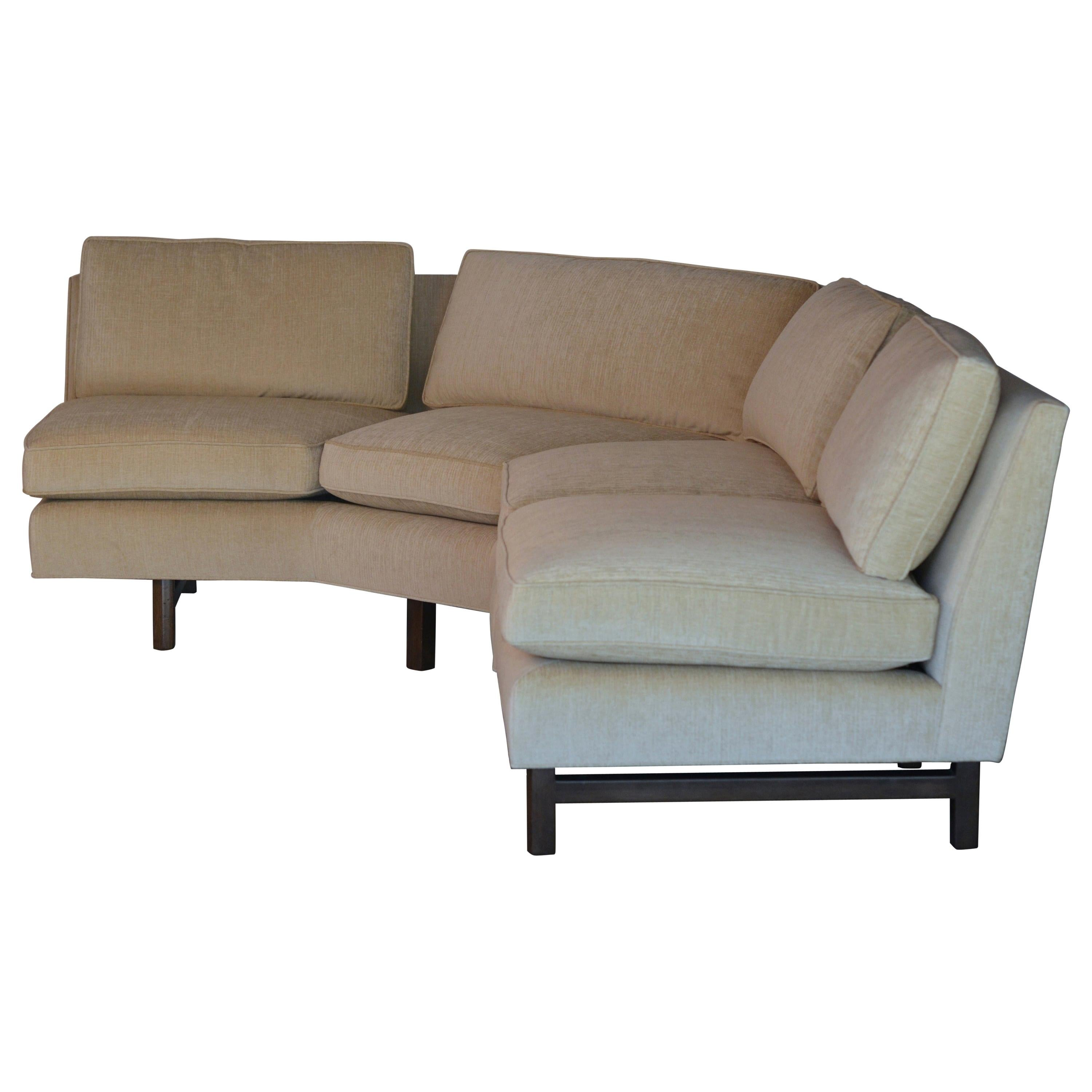 Impeccable Reupholstered Dunbar Sectional Sofa by Edward Wormley
