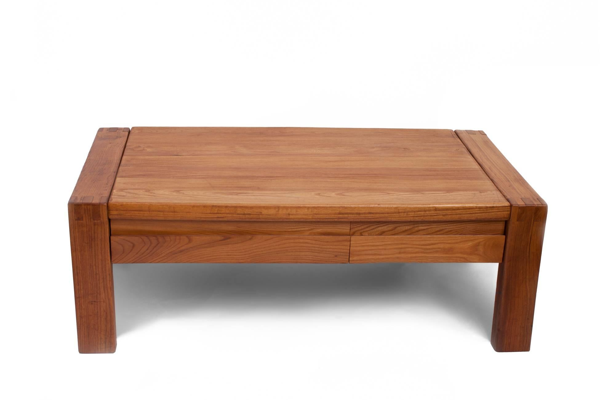 Mid Century Modern Pierre Chapo, Crafted Oak Coffee Table With Decorative  Joinery, France
