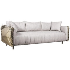 Imperfectio Sofa with Hand-Hammered Brass and Cream Fabric