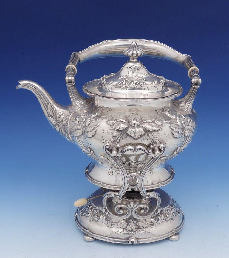 Gorgeous Imperial Chrysanthemum by Gorham sterling silver 6-piece tea set with fabulous chrysanthemum detailing.