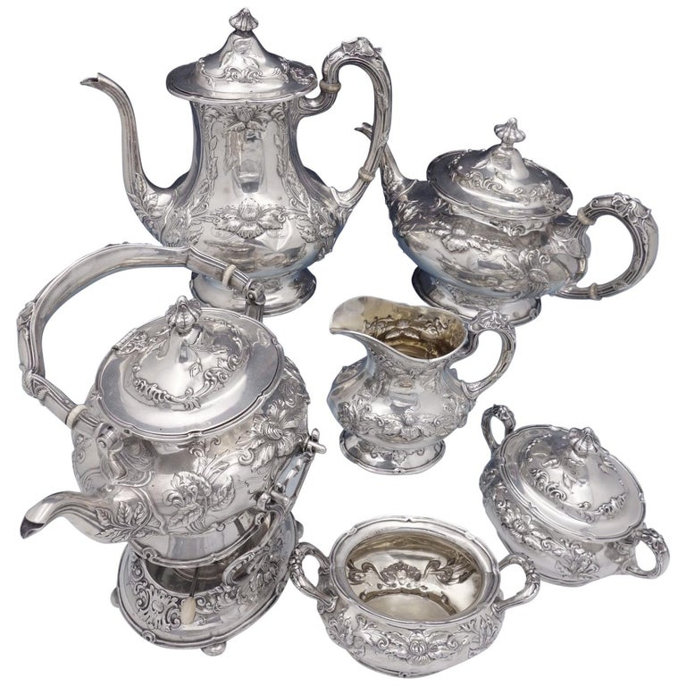 Imperial Chrysanthemum by Gorham Sterling Silver Tea Set 6-Piece Antique For Sale