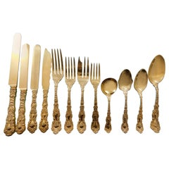 Imperial Chrysanthemum Gorham Sterling Silver Vermeil Flatware Set 157 Pieces