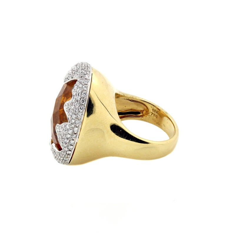 Imperial Citrine Gold and Diamond Ring In Excellent Condition For Sale In Boca Raton, FL