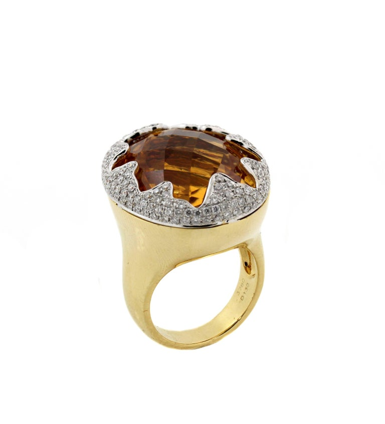 Women's Imperial Citrine Gold and Diamond Ring For Sale