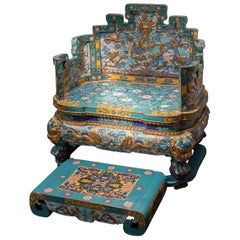 Imperial Gilt Copper and Cloisonné Enameled Throne