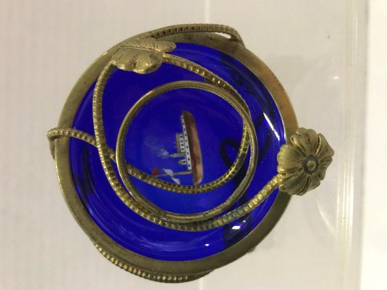 Gilt Imperial Glasswork of St. Petersburg 1900s Cobalt Blue Glass Egg on Stand For Sale