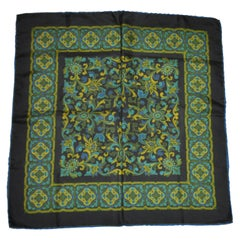 """Imperial Green Floral"" with Hand-Rolled Navy Border Silk Handkerchief"