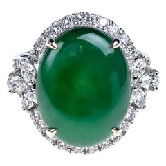 Imperial Green Jadeite Jade Cabochon and Halo Diamond Ring, Certified Untreated