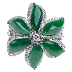 Imperial Green Jadeite Jade Flower and Diamond Ring, Certified Untreated
