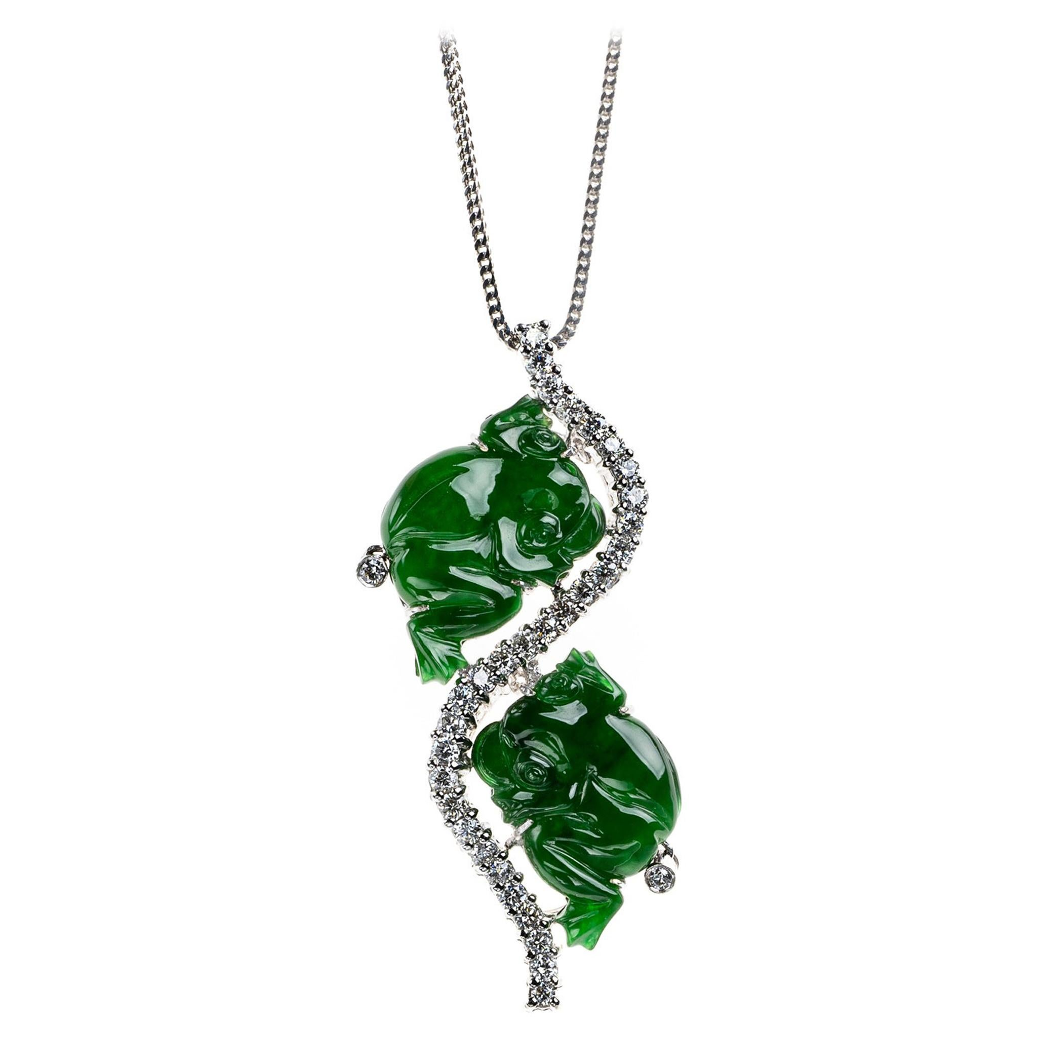 Imperial Green Jadeite Jade Frog and Diamond Pendant, GIA Certified Untreated
