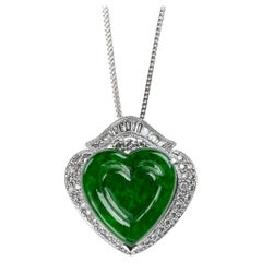 Imperial Green Jadeite Jade Heart and Diamond Pendant, GIA Certified Untreated