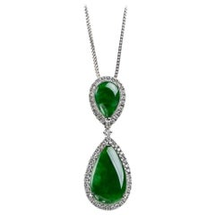 Imperial Green Jadeite Jade Pear and Diamond Pendant, Certified Untreated