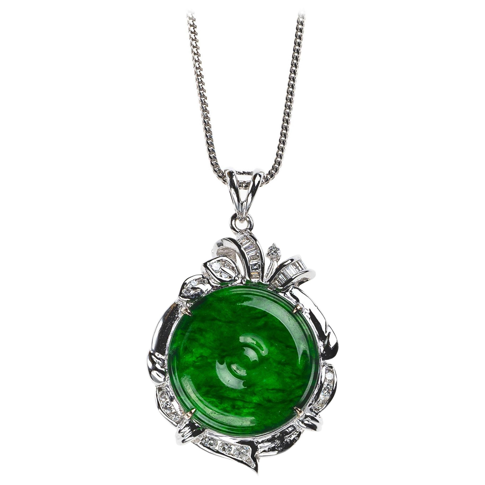 Imperial Green Jadeite Jade Pi Disc and Diamond Pendant, Certified Untreated