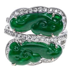 Imperial Green Jadeite Jade Ruyi and Diamond Ring, Certified Untreated