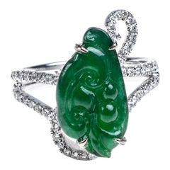 Imperial Green Jadeite Jade Ruyi Diamond Ring, Certified Untreated