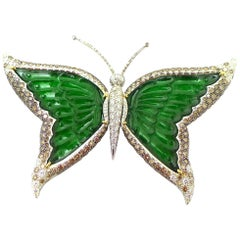 Imperial Jade, Diamond and Brown Diamond Brooch in 18 Karat White Gold