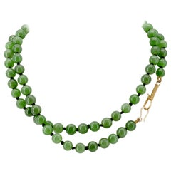 Imperial Jade Necklace of Siberian Nephrite with Simple Gold Hook Closure