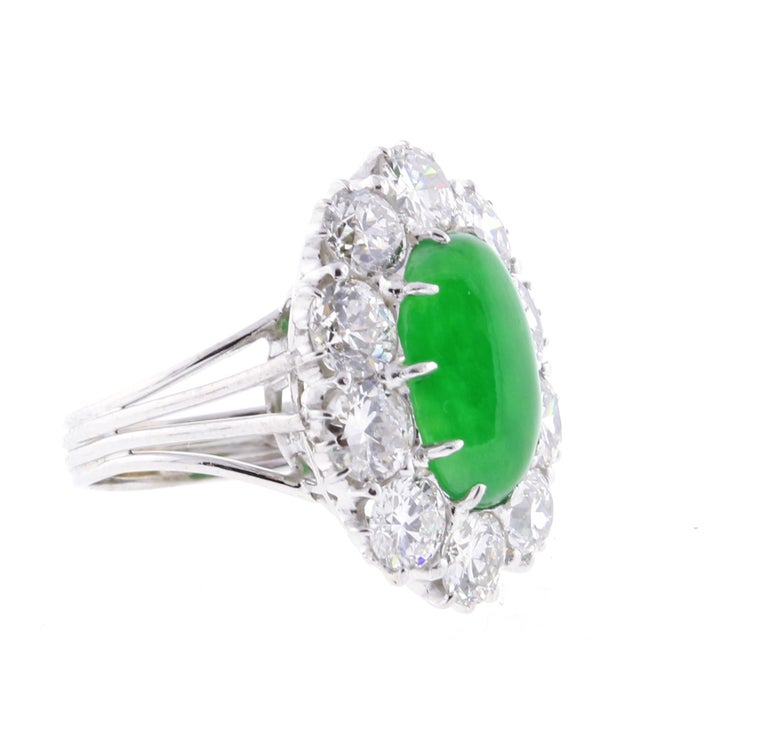 Women's or Men's Imperial Jadeite Jade and Diamond Ring For Sale