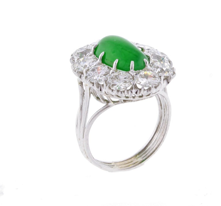 Imperial Jadeite Jade and Diamond Ring For Sale 2