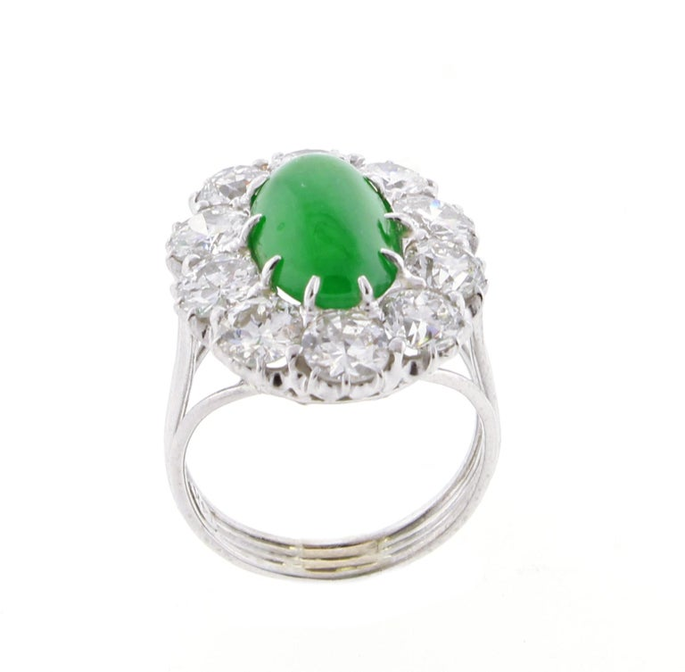Imperial Jadeite Jade and Diamond Ring For Sale 3