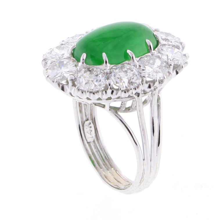 Imperial Jadeite Jade and Diamond Ring For Sale 4