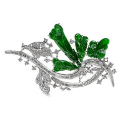 Imperial Jadeite Jade Lily Flower and Diamond Brooch, Certified Untreated