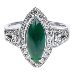 Imperial Jadeite Jade Marquise and Diamond Ring, Certified Untreated